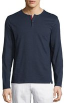 Orlebar Brown Long-Sleeve Henley Shirt, Navy