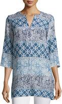Neiman Marcus 3/4-Sleeve Batik-Print Tunic, Blue