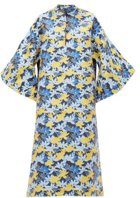 La Vie Style House - No.180 Floral-jacquard Kaftan Dress - Blue Multi
