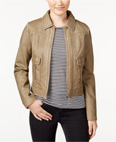 Collection B Juniors' Weathered Faux-Leather Zipper-Front Jacket