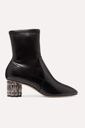 Salvatore Ferragamo Camelia Leather Ankle Boots - Black