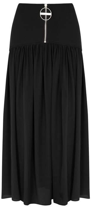 Givenchy Black Wool And Silk Midi Skirt