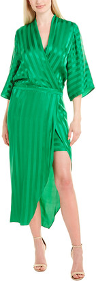 Mason by Michelle Mason Kimono Sleeve Silk Wrap Dress