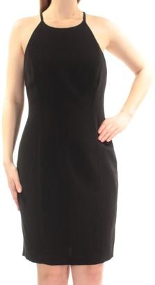 Calvin Klein womensCD6B1V3DHalter Neck Dress Sleeveless Dress - Black - 12