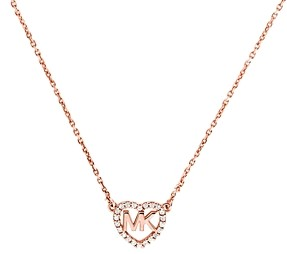 Michael Kors Pave Logo Heart Pendant Necklace in 14K Gold-Plated Sterling Silver, 14k Rose Gold-Plated Sterling Silver or Sterling Silver, 16