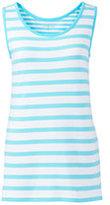 Lands' End Women's Petite Mixed Stripe Cotton Tank Top-Aqua Shell Thin Stripe