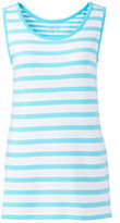 Lands' End Women's Tall Mixed Stripe Cotton Tank Top-Aqua Shell Thin Stripe