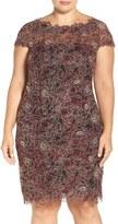 Tadashi Shoji Plus Size Women's Rose Embroidered Lace Sheath Dress