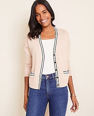 Ann Taylor Tipped Cropped V-Neck Cardigan