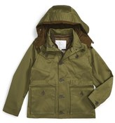 Burberry Boy's 'Mini Denfield' Hooded Field Jacket With Quilted Liner