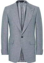 Dunhill Blue Slim-fit Slub Silk And Linen-blend Blazer - Blue