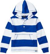 Ralph Lauren Striped Cotton Jersey Hooded Sweatshirt, Blue, Size 2-4