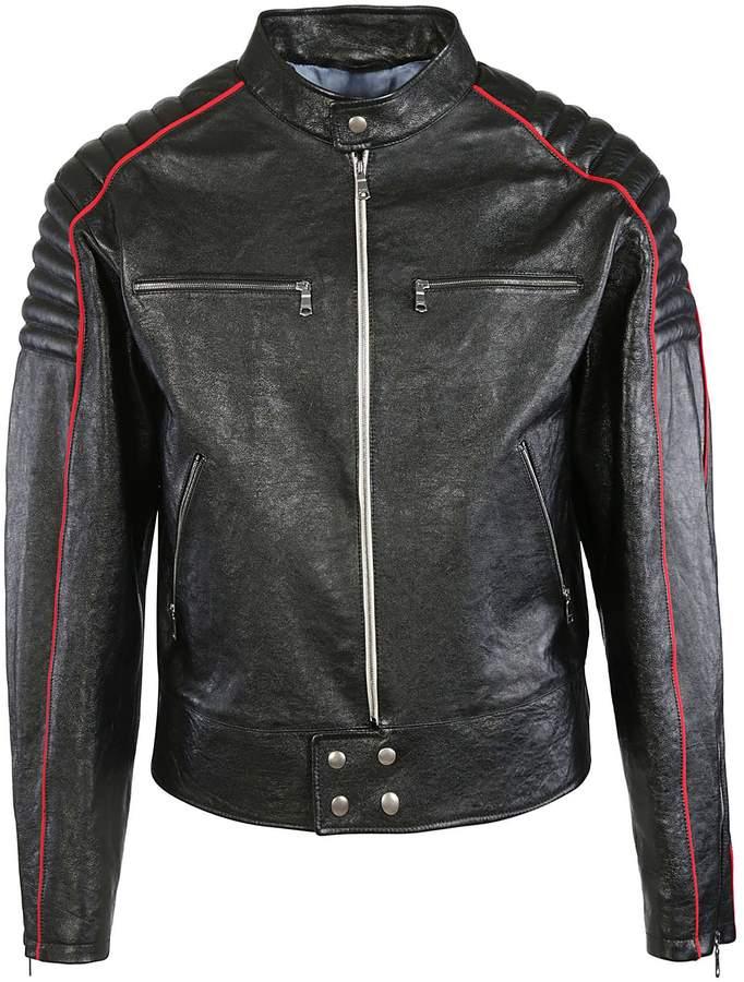 Gucci Logo Print Leather Jacket