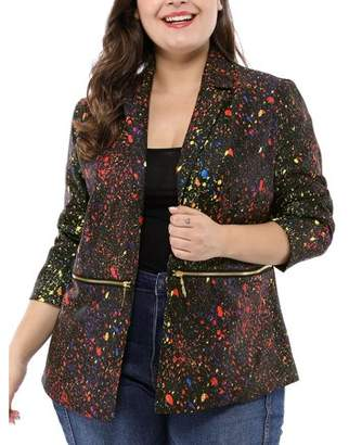 Unique Bargains Women's Plus Size Paint Splatter Printed Long Sleeve Blazer