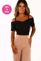 Pink Boutique Just My Luck Black Frill Cold Shoulder Crop Top