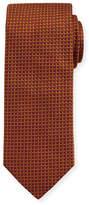 Eton Woven Dotted Circles Neat Silk Tie, Yellow/Orange