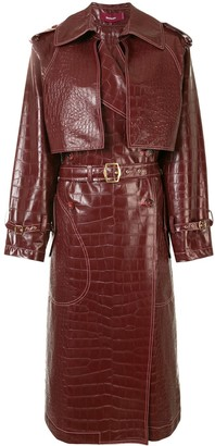 Sies Marjan Embossed Crocodile Effect Belted Coat