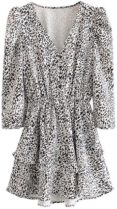 Goodnight Macaroon 'Gabe' Leopard Print V-Neck Button Long Sleeve Mini Dress