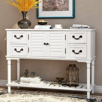 """Longshore Tides Chelan 45.3"""" Wide 4 Drawer Pine Wood Server Color: Vintage White"""