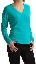 Johnstons of Elgin Classic Cashmere V-Neck Sweater (For Women)