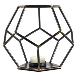 Crystal Art Gallery American Art Decor Geometric Tealight Candle Holder Hexagonal Table Top Sculpture