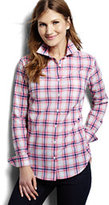 Classic Women's Petite Casual Easy Shirt-Blue Gingham Dots