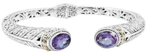 Devata Amethyst (3 ct. t.w.) Bali Heritage Classic Cuff Bracelet in Sterling Silver and 18k Yellow Gold Accents