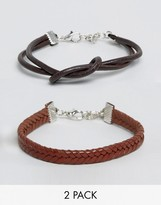 Asos Knotted Bracelet Pack In Brown
