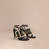 Burberry Riveted Suede Sandals with Buckle Detail