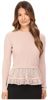 RED Valentino Cotton Yarn Lingerie Stiching Point D'Esprit Sweater Women's Sweater