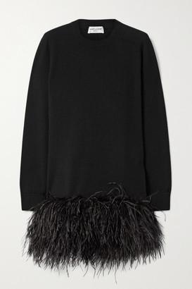 Saint Laurent Feather-trimmed Cashmere Mini Dress - Black