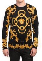 Versace Men's Baroque Print Medusa Sweater Black Gold
