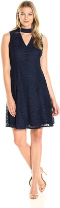 London Times Women's Sleeveless V Neck Lace Fit & Flare Dress w. Mock Collar