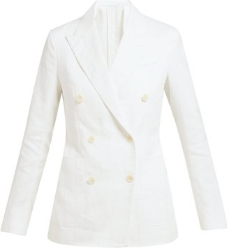 Odyssee - Sol Double-breasted Twill Blazer - Womens - White