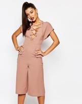 Missguided Lace Up Culotte Jumpsuit