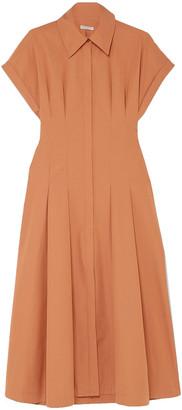 Three Graces London Alette Cutout Pleated Cotton-poplin Dress