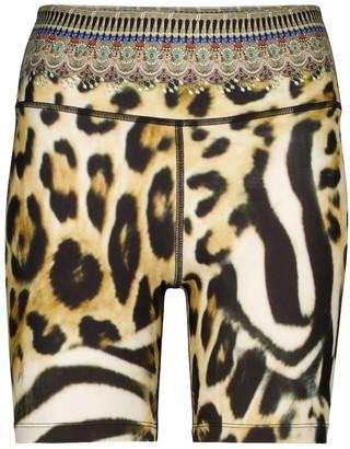 Camilla Leopard-print biker shorts