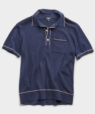 Todd Snyder Italian Cotton Silk Tipped Ribbed Polo Sweater in Navy