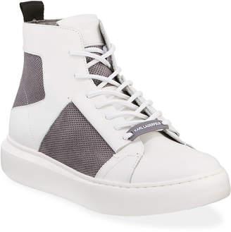 Karl Lagerfeld Paris Men's High-Top Leather/Suede Sneakers