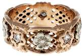 Vintage 14K Pink Gold with 0.25ct Diamond Pierced Eternity Ring Size 8.5