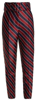 Sara Battaglia Striped High Waisted Satin Trousers - Womens - Navy Multi