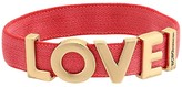 BCBGeneration Love Fabric Stretch Bracelet (Pink/Shiny Gold) Bracelet