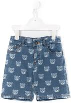 Moschino Kids - teddy print denim shorts - kids - Cotton/Spandex/Elastane - 5 yrs