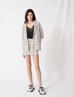 Maje Checked tweed-style jacket