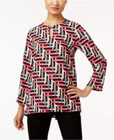 Alfani Printed Keyhole Blouse, Only at Macy's