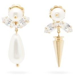 Simone Rocha Faux-pearl, Crystal & Spike Drop Earrings - Pearl