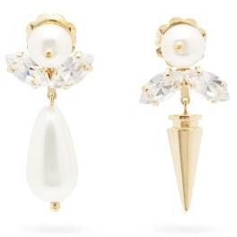 Simone Rocha Faux-pearl, Crystal & Spike Drop Earrings - Womens - Pearl
