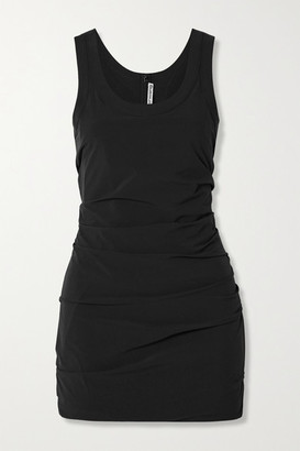 Alexander Wang Ruched Stretch-shell Mini Dress - Black