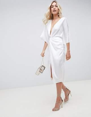 Asos Design DESIGN midi knot front kimono dress in satin-White
