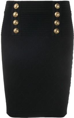 Balmain Knitted Embossed Button Skirt
